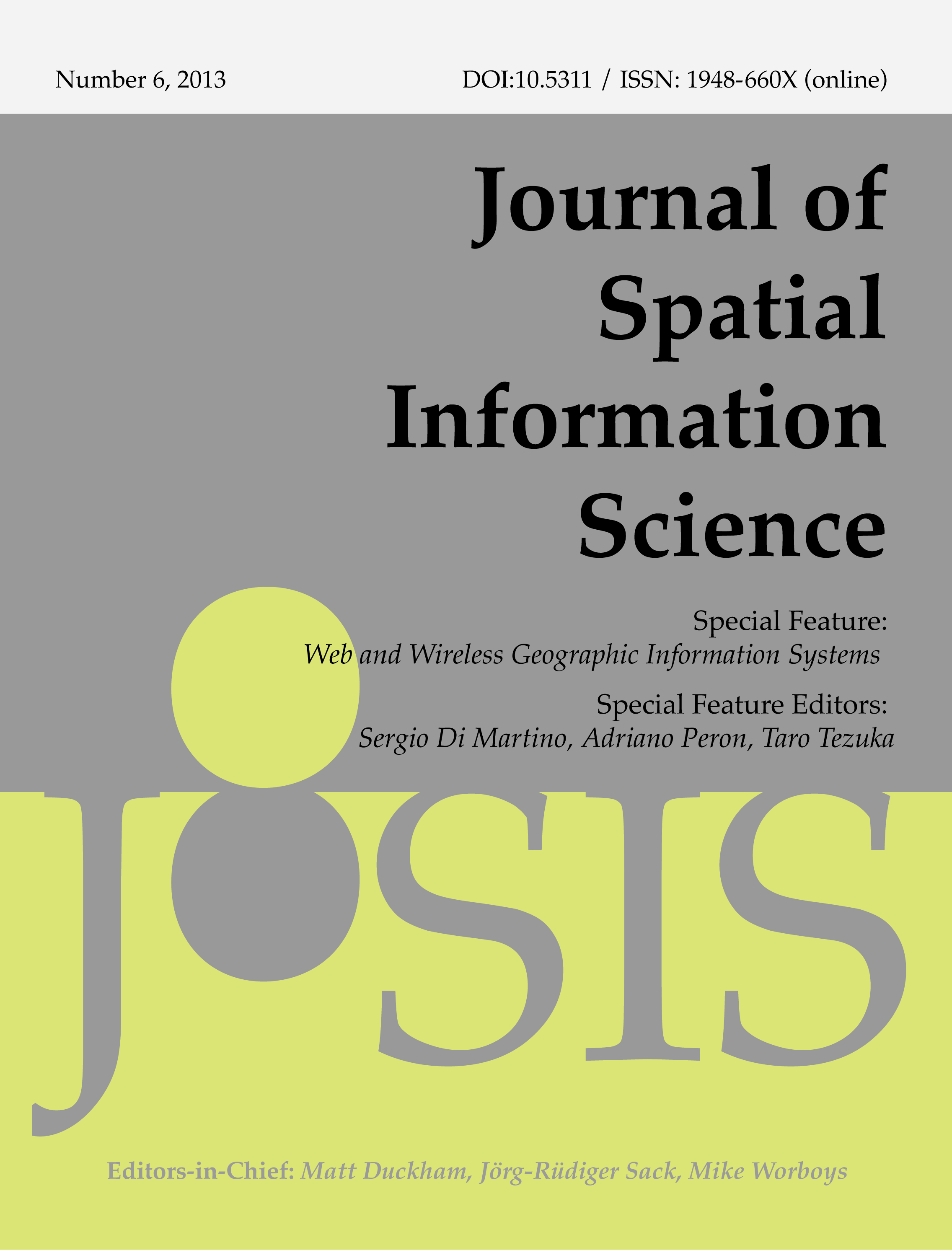 View No. 6 (2013): Special feature on Web and Wireless Geographic Information Systems